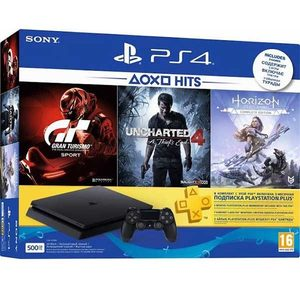 PS4 HITS Bundle 500GB + Horizon Zero Dawn Complete, Uncharted 4, & Gran Turismo + 3 Month PS Plus
