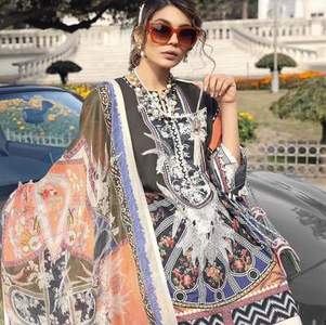 Sana Safinaz Collection Fabric Lawn Dupatta Chiffon - Replica - Unstitched
