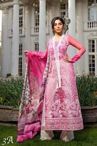 Sobia Nazir Collection Fabric Organza Dupatta Digital Silk Trouser Slik  Inner Malai Crape - Replica - Unstitched