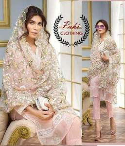 Gul Ahmed Chiffon Dresses - Embroidered Net Dupatta - Replica - Unstitched