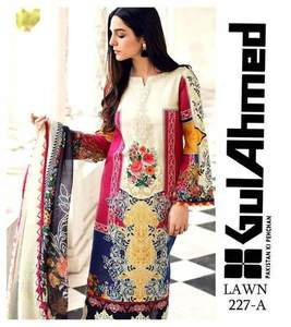 Gul Ahmed Lawn Collection With Chiffon Dupatta - Replica - Unstitched