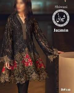 Baroque Cotton Dresses - Embroidered Net Dupatta - Replica - Unstitched