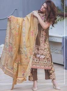 Rang Rasiya Lawn Dresses - Embroidered Silk Dupatta - Replica - Unstitched