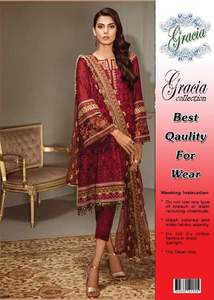 Baroque Chiffon Dresses - Embroidered Chiffon Dupatta - Replica - Unstitched