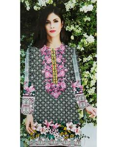 Al Karam Embroidered Lawn Suits With Chiffon Dupatta By Ideal - 3 Piece Suits - IDL-001 (Replica)(Unstitched)