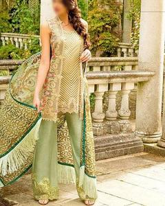 Baroque Full Heavy Embroidered Suit With Net Heavy Embroidered Dupatta (Replica)(Unstitched)