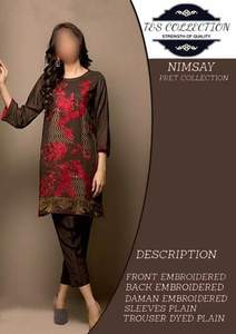 Nimsay Collection Fabric Soft Cotton with Chiffon Dupatta - Replica - Unstitched
