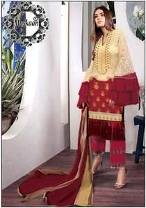 Sana Safinaz Muzlin Fabric Lawn Chiffon Dupatta Cambric Cotton Trouser - Replica - Unstitched