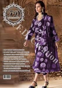 Gul Ahmed Fabric Lawn & Chiffon Embroided Essence Thread & Zari - Replica - Unstitched