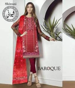 Gul Ahmed Lawn Dresses - Embroidered Net Dupatta - Replica - Unstitched
