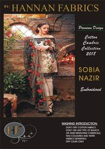 Sobia Nazir Cambric Cotton Dresses - Embroidered Chiffon Dupatta - Replica - Unstitched
