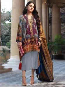 Sana Safinaz Silk Printed Dresses - Printed Medium Silk Dupatta  - Replica - Unstitched