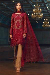 Jazmin Barooq Chiffon Collection 2019-Red Beryl  (Replica)(Unstitched)