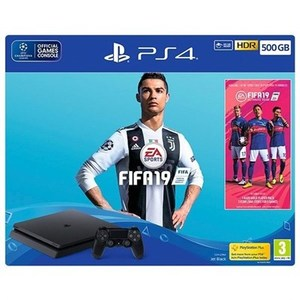 Sony Playstation 4 Slim 500GB Console with FIFA 19 Bundle  CUH-2216A  HDR  PS VR Ready  Jet Black  PS4