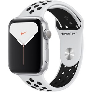 Apple Watch Series 5 (Nike+/GPS Only  44mm  Silver Aluminum  Pure Platinum/Black Nike Sport Band)  MX3V2