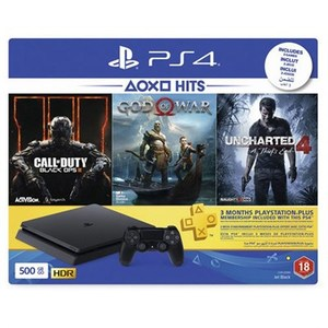Sony Playstation 4 Slim 500GB Console PS4 Hits Bundle COD Black Ops III & God of War & Uncharted 4 & 3 Months PSN Plus CUH-2216A