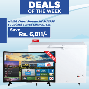Haier Single Door Chest Freezer 285SD & SG 32 inch Curved Smart HD LED TV Boom Boom Series