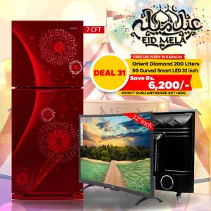 Orient Diamond Refrigerator 200 Liters & SG 32 inch Curved Smart HD LED TV Boom Boom Series
