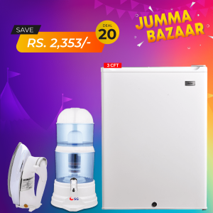 Haier Single Door Refrigerator HR-126WL + SG De-Luxe Automatic Iron SG-22T + SG Doctor Water Purifier Filter