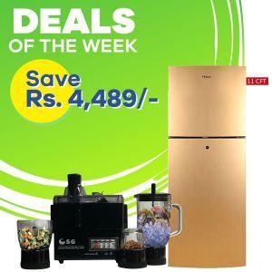 Haier Refrigerator HRF 306 EBS/EBD & SG 4 In 1 Juicer Blender Dry Mill 500 Watts