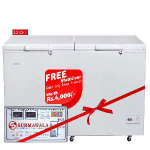 Haier Chest Freezer HDF-325H With Surmawala 1600 W Automatic Voltage Stabilizer S-45
