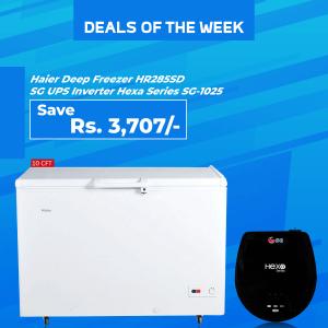 Haier Single Door Deep Freezer HDF-285SD & SG UPS Inverter Hexa Series SG-1025
