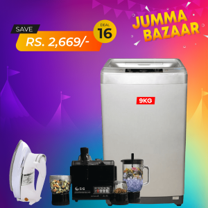 Haier Top Loading Fully Automatic Washing Machine HWM 90-1789 + SG 4 In 1 Juicer Blender Dry Mill + SG Iron 22T