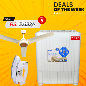 Haier Semi-Automatic W/M HWM-75AS + SG Elite Series Ceiling Fan + SG De-Luxe Automatic Iron SG-22T