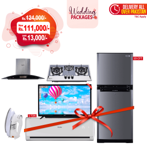 SG 3 Stove HOB Burner + SG Range Hood SGHP-9003 + Orient Ice Refrigerator 260 Liters + SG De-Luxe Automatic Iron SG-22T + SG Boom Boom Series Cinema Smart LED TV 32 inch +  Haier Long Throw Air Conditioner HSU-12LTC
