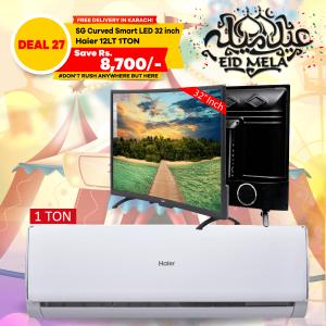 Haier Long Throw Air Conditioner HSU-12LTC &  SG 32 inch Curved Smart HD LED TV Boom Boom Series