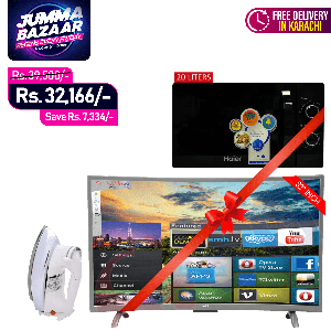 SG 32 inch Curved Smart HD LED TV Boom Boom Series + Haier Microwave Oven MM720 + SG De-Luxe Automatic Iron SG-22T