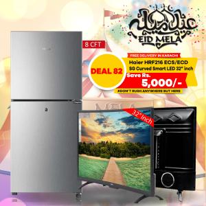 Haier Refrigerator HRF216 ECS/ECD & SG 32 inch Curved Smart HD LED TV Boom Boom Series
