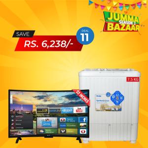 SG 32 inch Curved Smart HD LED TV Boom Boom Series & Haier Semi-Automaic W/M HWM-75AS