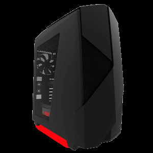NEW NZXT Noctis 450 Mid Tower Case w/ PWM Fan Hub  USB3.0  Matte Black/Red LED CA-N450W-M1