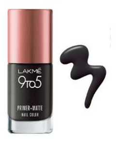 Lakm 9 To 5 Primer And Matte Nail Color - Charcoal  - 9ml