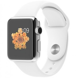 Apple Watch - MJ302 38mm Stainless Steel Case with White Sport Band