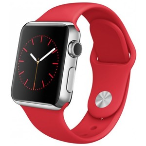 Apple Watch - MLLD2 38mm Silver Aluminum Case With Red Sport Band