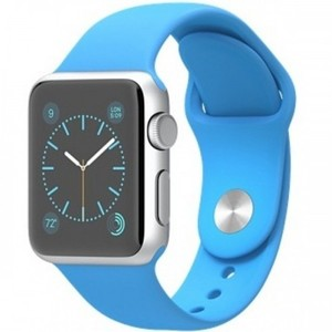 Apple Watch - MMF22 38mm Silver Aluminum Case with Blue Sport Band