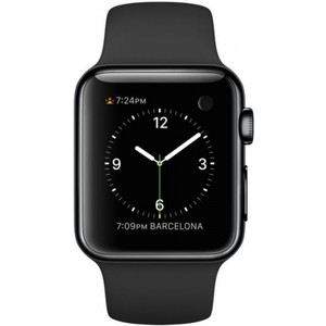 Apple Watch 38mm Space Black Stainless Steel Case with Black Sport Band (MLCK2)