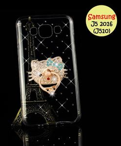Samsung J5 2016 Cover - Mobile Cover Ring & Transparent Fancy Cover