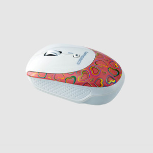 CROWN Wireless Mouse CMM-919Wpk (White+Pink with Heart Design)