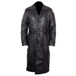 Mens Vintage Overcoat Black Long Leather Duster Trench Coat Mackintosh