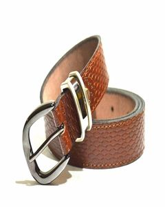 Bjorn Camel Textured Formal Leather Belt For Men