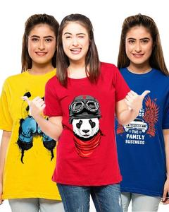 Ace - Red Super Panda Cotton Printed T Shirt for her