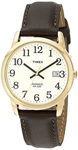 Timex Mens T2N369 Easy Reader Brown Leather Strap Watch