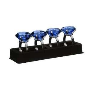 Sapphire Diamante Napkin Rings - Set of 4