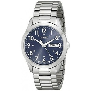 Timex T2M933 Elevated Classics Silver-Tone Dress Watch with Stainless Steel Expansion Band