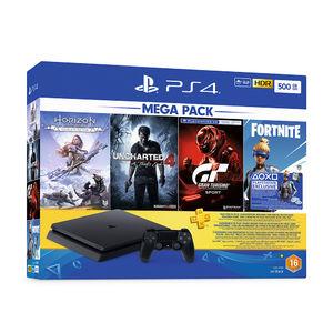 Sony CUH-2216A PS4 Slim 500GB - Jet Black & 4 Games Pack (Horizon Zero Dawn + Uncharted 4 + GT Sport + Fortnite)
