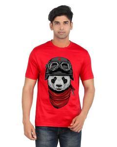 Blue Cotton Panda Printed T-Shirt For Men