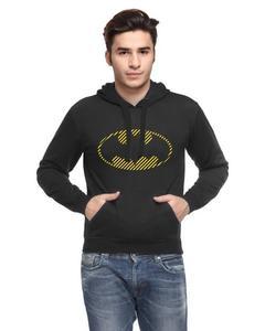 Black Fleece Printed Hoodie for Men